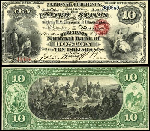 1864 Ten Dollar Bill National Currency Note