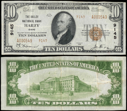 1929 Ten Dollar Bill National Currency Bank Note