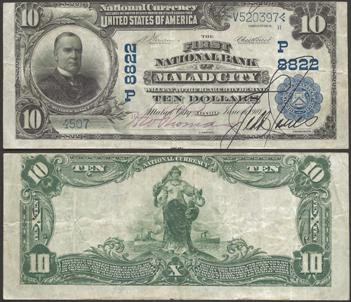 1902 Ten Dollar Bill National Currency Blue Seal Note