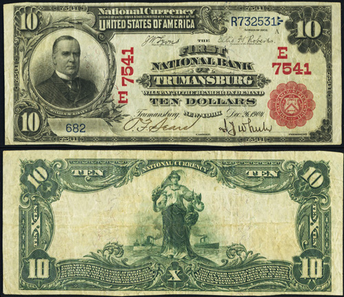 1902 Ten Dollar Bill National Currency Red Seal Note