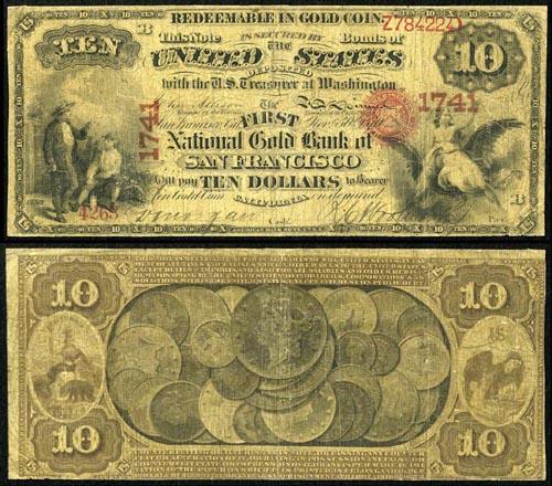 1870 Ten Dollar Bill National Gold Bank Note Value