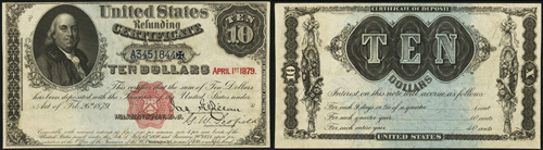 1879 Ten Dollar Bill Refunding Certificate Note
