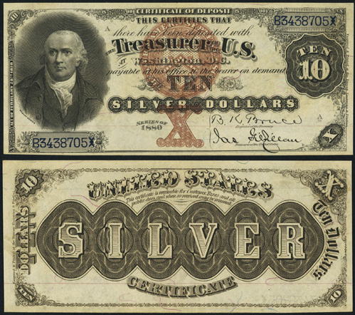 1880 Ten Dollar Bill Silver Certificate Note