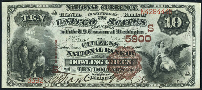 1892 Ten Dollar Bill National Currency Brown Back Note