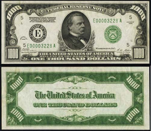 1928 Thousand Dollar Bill Federal Reserve Note