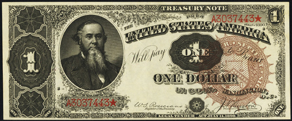 Treasury Note $1.00 Series 1890 Large Brown Seal