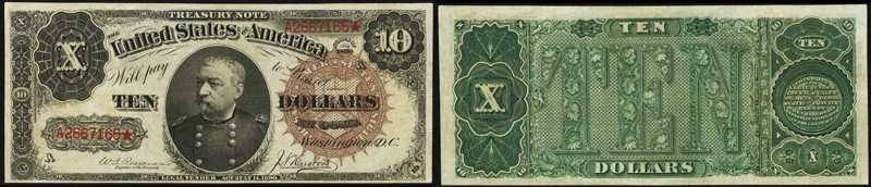 Series 1890 $10.00 Treasury Note - Sheridan