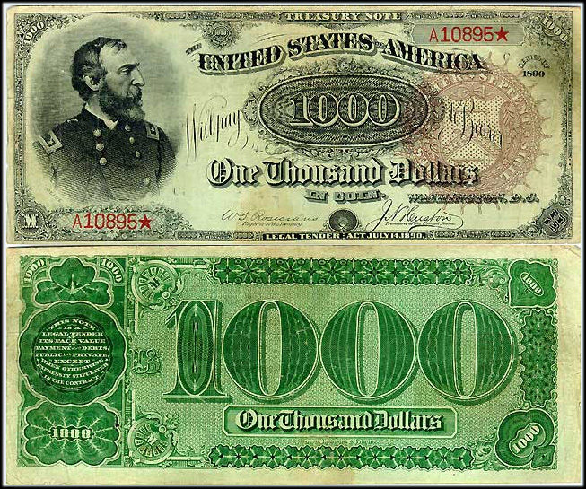 Series 1890 $1000.00 Treasury Note Grand Watermelon