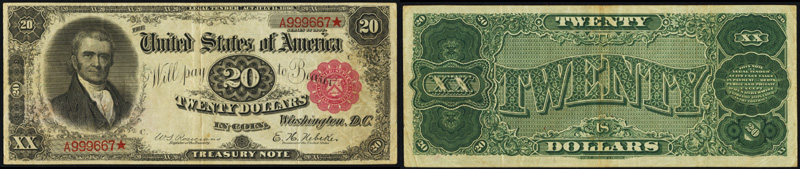 Series 1890 $20.00 Treasury Note - Marshall