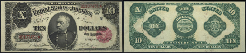 Series 1891 $10.00 Treasury Note