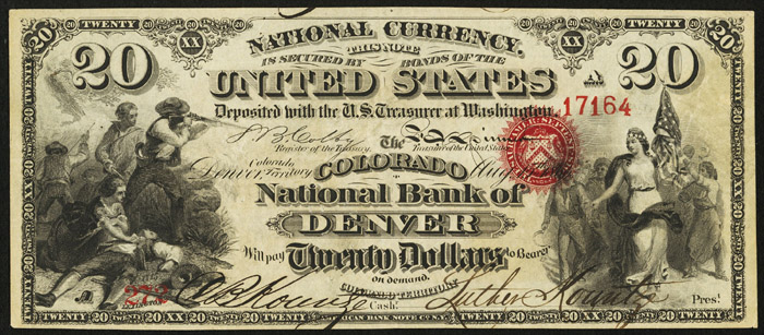 1870 Twenty Dollar Bill National Currency Original Series Note