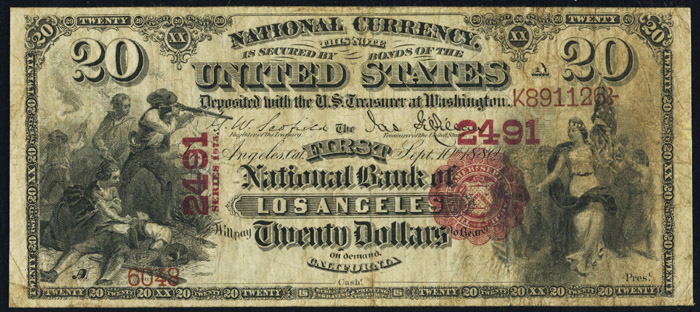 1876 Twenty Dollar Bill National Currency Original Series Note