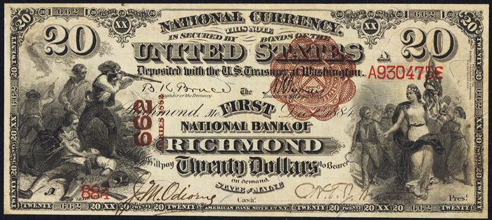 1885 Twenty Dollar Bill National Currency Brown Back Note