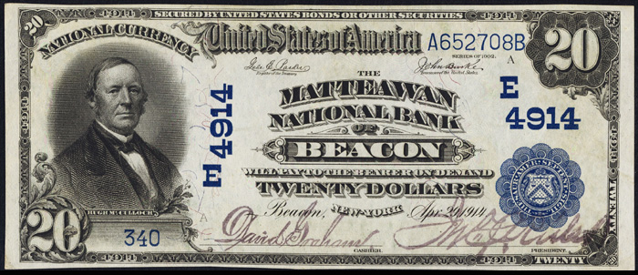 1908 Twenty Dollar Bill National Currency Blue Seal Note