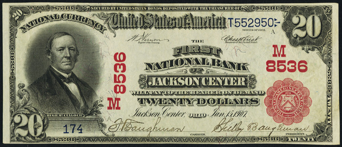 1908 Twenty Dollar Bill National Currency Red Seal Note