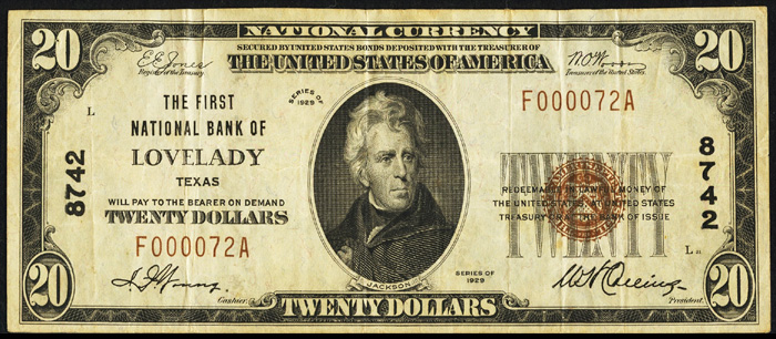 1929 Twenty Dollar Bill National Currency Note Type 1