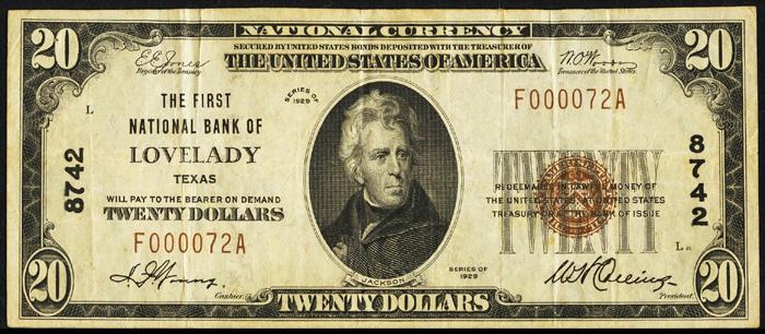 1929 Twenty Dollar Bill National Currency Note Type 1