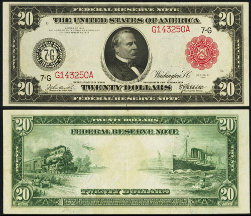 1914 Twenty Dollar Bill Federal Reserve Note Red Seal