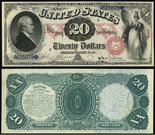 1875 Twenty Dollar Bill Legal Tender Note