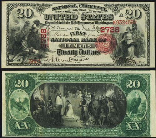 1875 Twenty Dollar Bill National Currency Note