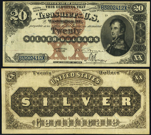 1880 Twenty Dollar Bill Silver Certificate Note