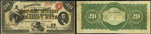 1864 Twenty Dollar Bill Compound Interest Treasury Note