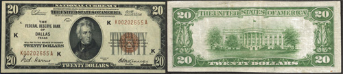 1929 $20 Twenty Dollar Bill Federal Reserve Bank Note