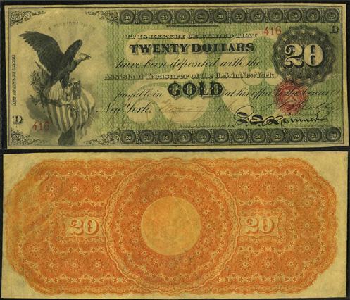 1863 Twenty Dollar Bill Gold Certificate Note