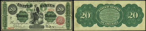 1863 Twenty Dollar Bill Legal Tender Note