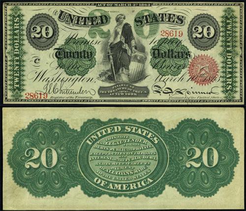 1863 Twenty Dollar Bill Legal Tender Note