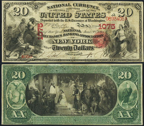 1863 Twenty Dollar National Currency Note