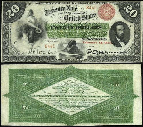 1863 Twenty Dollar Bill Interest Bearing Treasury Note