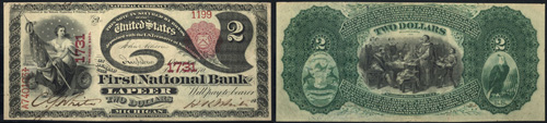 1875 Two Dollar Bill National Currency Note