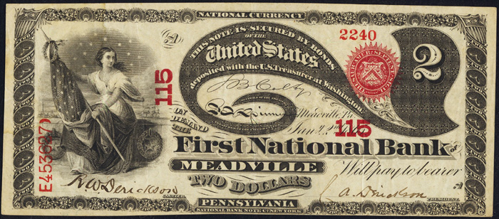1863 Two Dollar Bill National Currency Original Series Note